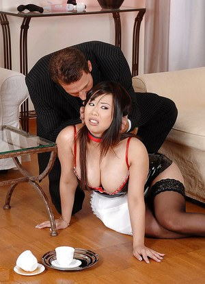 Japanese french maid with hairy pussy fucked 6